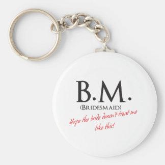 Bridesmaid- BM Basic Round Button Key Ring