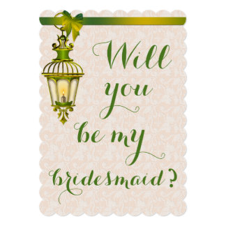 Bridesmaid Chic Rose Lace Green Lantern Card