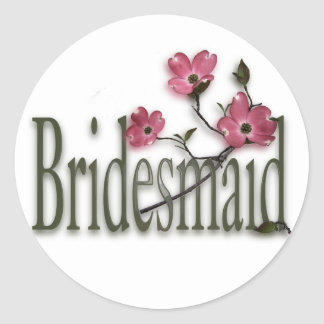 Bridesmaid/ Dogwood Wedding Classic Round Sticker