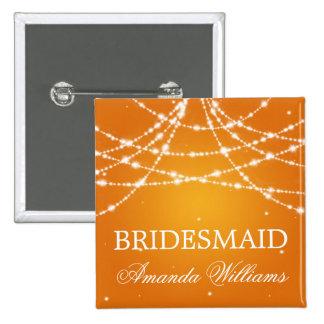 Bridesmaid Favor Sparkling String Orange 15 Cm Square Badge