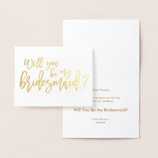 Bridesmaid Foil Card |  Will You Be My Bridesmaid