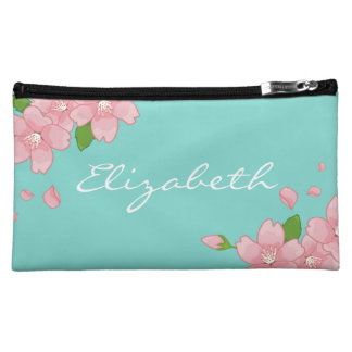 Bridesmaid Gift Floral Tiffany Blue Cosmetic Bag