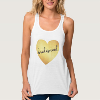 Bridesmaid modern calligraphy tank top gold foil