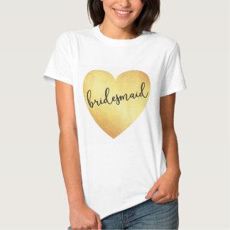 Bridesmaid modern calligraphy tshirt gold foil