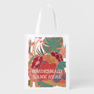 Bridesmaid Personalized Floral Reusable Bag