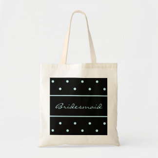 Bridesmaid Tote Bag - Blue Polka Dots on Black Bag
