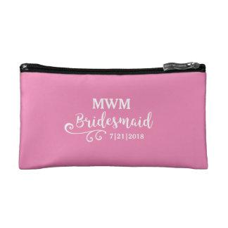 Bridesmaid Wedding Favor Name or Monogram Script Cosmetics Bags