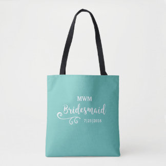 Wedding Favor Bags Nz : Bridesmaid Wedding Favor Name or Monogram Script Tote Bag