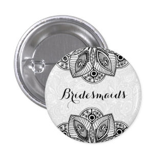 BridesMaids Black Lace White Background 3 Cm Round Badge