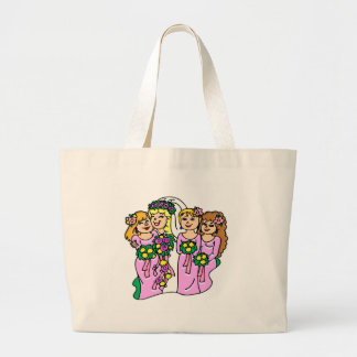 Bridesmaids in Pink Large Tote Bag