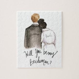 Bridesman? Puzzle Dk Br Bun Bride Blonde Man
