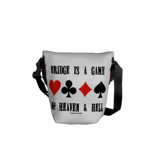 Bridge Is A Game Of Heaven & Hell (Card Suits) Messenger Bags