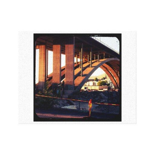 Bridge over construction site canvas prints
