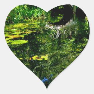 Bridge Over Peaceful Water Heart Stickers