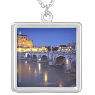 Bridge Sant Angelo and Castel Sant Angelo at Silver Plated Necklace