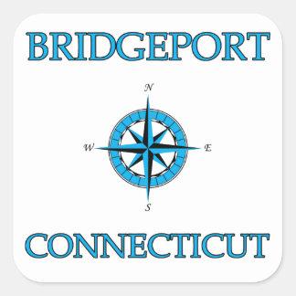 Bridgeport Connecticut Nautical Compass Rose Square Sticker