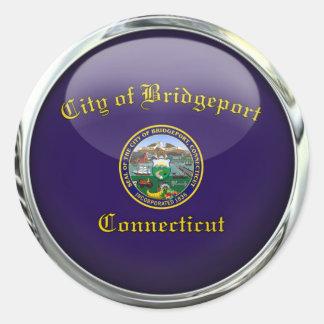 Bridgeport Flag Glass Ball Classic Round Sticker