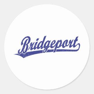 Bridgeport script logo in blue classic round sticker