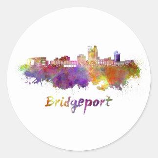 Bridgeport skyline in watercolor classic round sticker