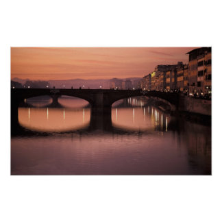 Bridges over the Arno River at sunset, 2 Poster