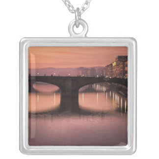 Bridges over the Arno River at sunset, 2 Silver Plated Necklace
