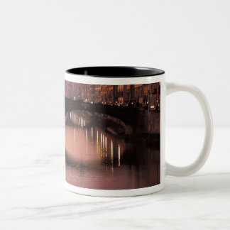 Bridges over the Arno River at sunset, 2 Two-Tone Coffee Mug