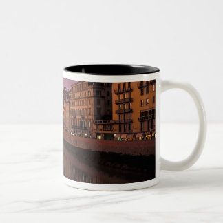 Bridges over the Arno River at sunset, Two-Tone Coffee Mug
