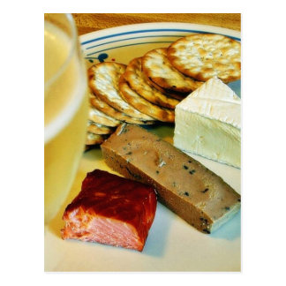 Brie Cheese Salmon Smoked Pate Crackers Champagne Post Card