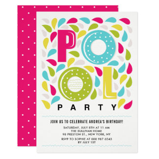 Bright and Colorful Pool Party Birthday Invitation