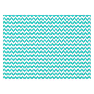 Bright Aqua and White Chevron Stripe Tablecloth