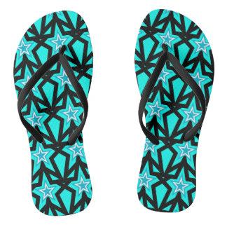 Bright Aqua Blue Star Pattern Flip Flops
