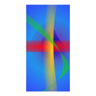 Bright Blue Abstract Art Customized Photo Card