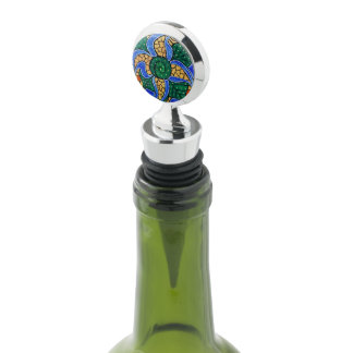 Bright Blue Abstract Flower Wine Stopper