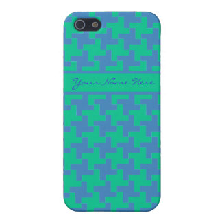 Bright Blue and Emerald Green Dogstooth Pattern iPhone 5 Covers
