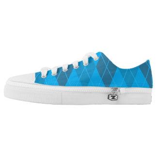 Bright Blue Argyle Low Tops