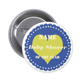 Bright Blue Baby Shower Heart Party Badge