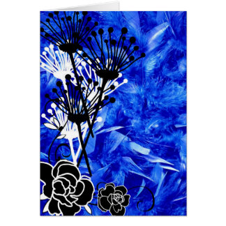 Bright blue feather flowered design card