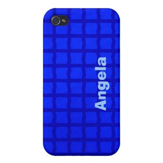Bright Blue Grid Pern iPhone 4 Case