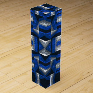 Bright Blue Mosaic Pattern Wine Gift Box