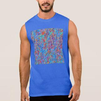 Bright Blue Paint Splatter Abstract Sleeveless Shirt