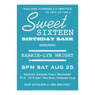 Bright Blue Poster Style Sweet 16 Party 13 Cm X 18 Cm Invitation Card