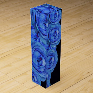 Bright Blue Roses Wine Gift Box