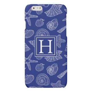 Bright Blue Shell Pattern | Add Your Initial