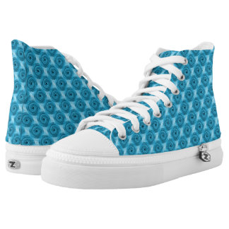 Bright Blue Swirly Circles Abstract Pattern Printed Shoes