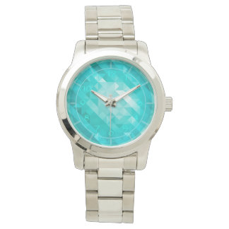 Bright blue turquoise geometric men's watch