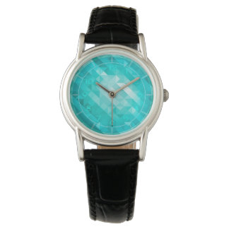 Bright blue turquoise geometric women's watch