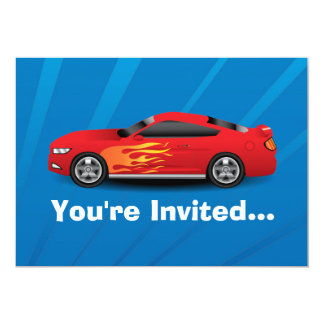 Bright Blue with Red Sports Car Flames Kids Boys 13 Cm X 18 Cm Invitation Card