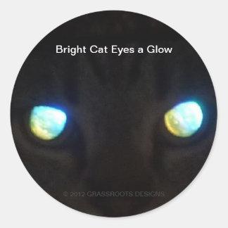 Bright Cat Eyes a Glow Round Sticker