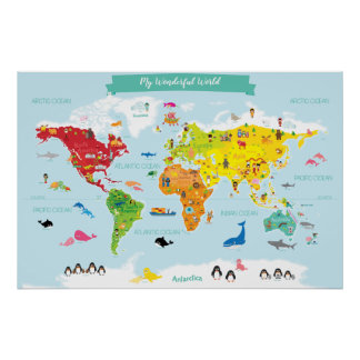 Bright Children World Map with Illustrations Poster