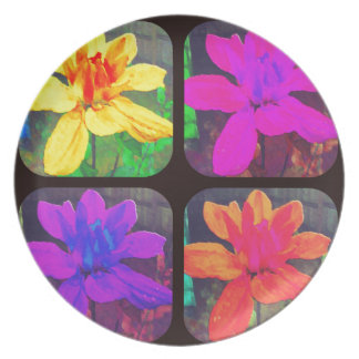 Bright Collage  Floral Dahlia Flower Pattern Dinner Plate